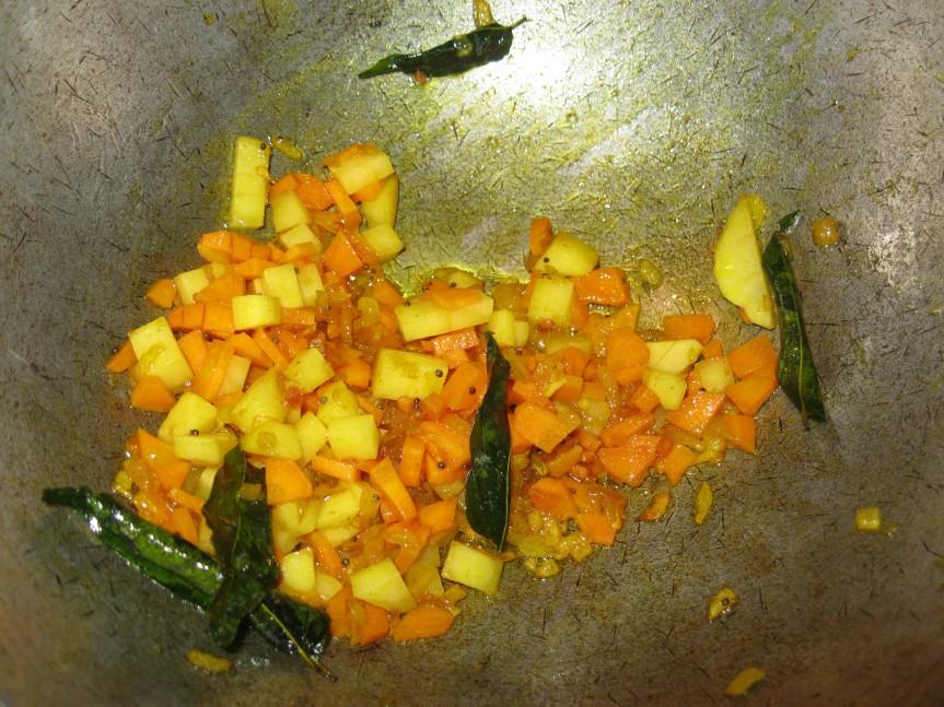 Vegetables begin cooking...