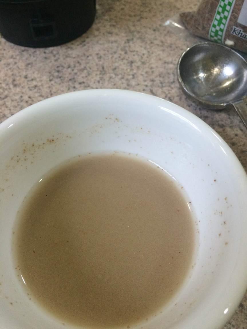 1 tbsp. flax powder + 3 tbsp water for 15 minutes in the fridge